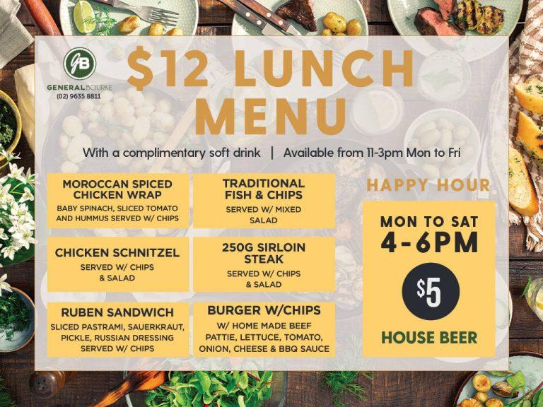 $12 lunch menu